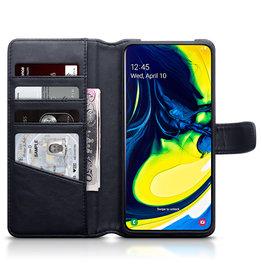 Qubits Qubits - luxe echt lederen wallet hoes - Samsung Galaxy A80 - Zwart