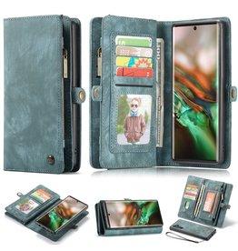 Caseme Caseme - vintage 2 in 1 portemonnee hoes - Samsung Galaxy Note 10 - Blauw