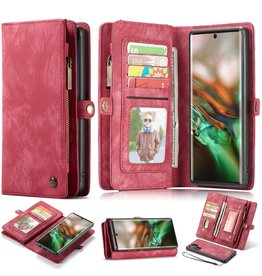 Caseme Caseme - vintage 2 in 1 portemonnee hoes - Samsung Galaxy Note 10 Plus - Rood