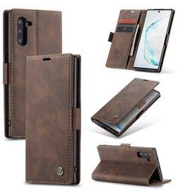 Caseme Caseme - stijlvolle wallet hoes - Samsung Galaxy Note 10 - Coffee