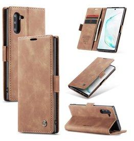 Caseme Caseme - stijlvolle wallet hoes - Samsung Galaxy Note 10 - Lichtbruin