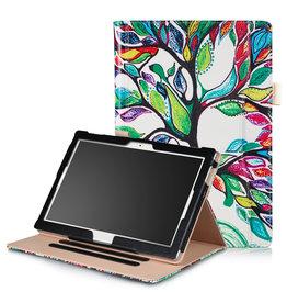 Lunso Stand flip hoes - Lenovo Tab E10 - Kleurrijke Boom