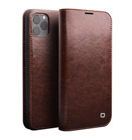Qialino Qialino - echt lederen luxe wallet hoes - iPhone 11 Pro - Bruin