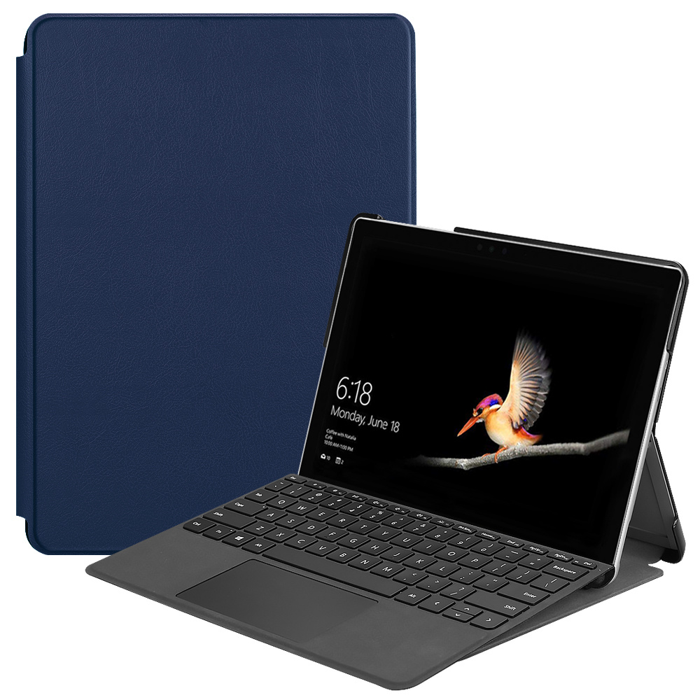 Lunso 2-Vouw sleepcover hoes Blauw voor de Microsoft Surface Go