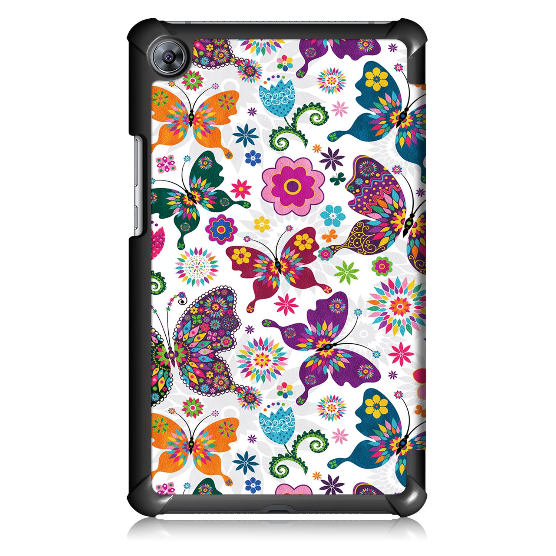 Lunso 3-Vouw sleepcover hoes Vlinders voor de Huawei MediaPad 8.4 inch