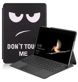Lunso 3-Vouw sleepcover hoes Don't Touch voor de Microsoft Surface Go