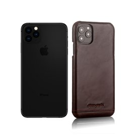 Pierre Cardin Pierre Cardin - echt lederen backcover hoes - iPhone 11 Pro Max - Coffee