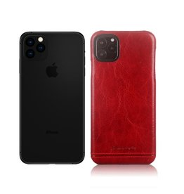 Pierre Cardin Pierre Cardin - echt lederen backcover hoes - iPhone 11 Pro Max - Rood