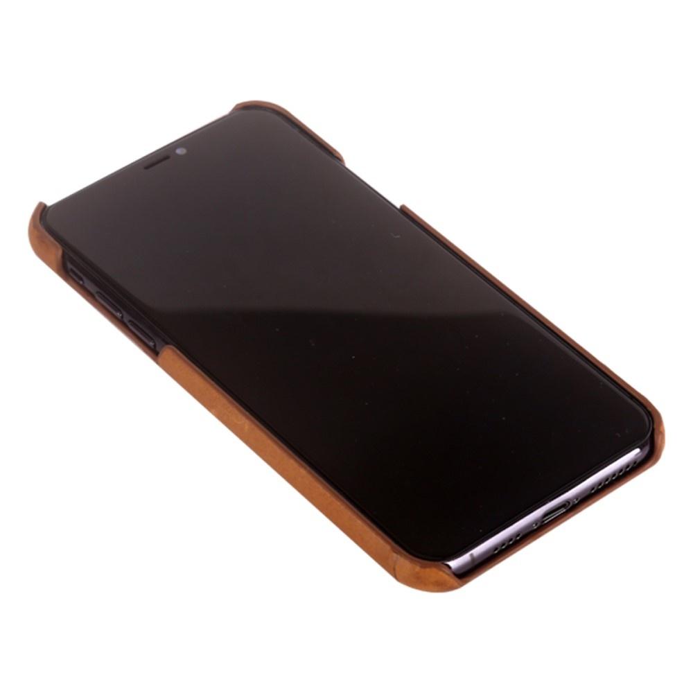 Pierre Cardin Echt lederen backcover hoes Coffee voor de iPhone 11 Pro