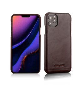 Pierre Cardin Pierre Cardin - echt lederen backcover hoes - iPhone 11 Pro - Coffee