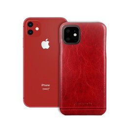 Pierre Cardin Pierre Cardin - echt lederen backcover hoes - iPhone 11 - Rood