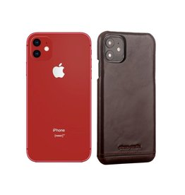 Pierre Cardin Pierre Cardin - echt lederen backcover hoes - iPhone 11 - Coffee