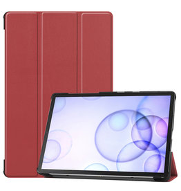 Lunso 3-Vouw sleepcover hoes - Samsung Galaxy Tab S6 - Bordeaux Rood