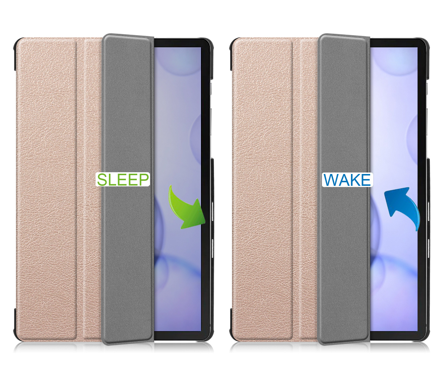 Lunso 3-Vouw sleepcover hoes Goud voor de Samsung Galaxy Tab S6