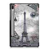 Lunso 3-Vouw sleepcover hoes Eiffeltoren voor de Samsung Galaxy Tab S6
