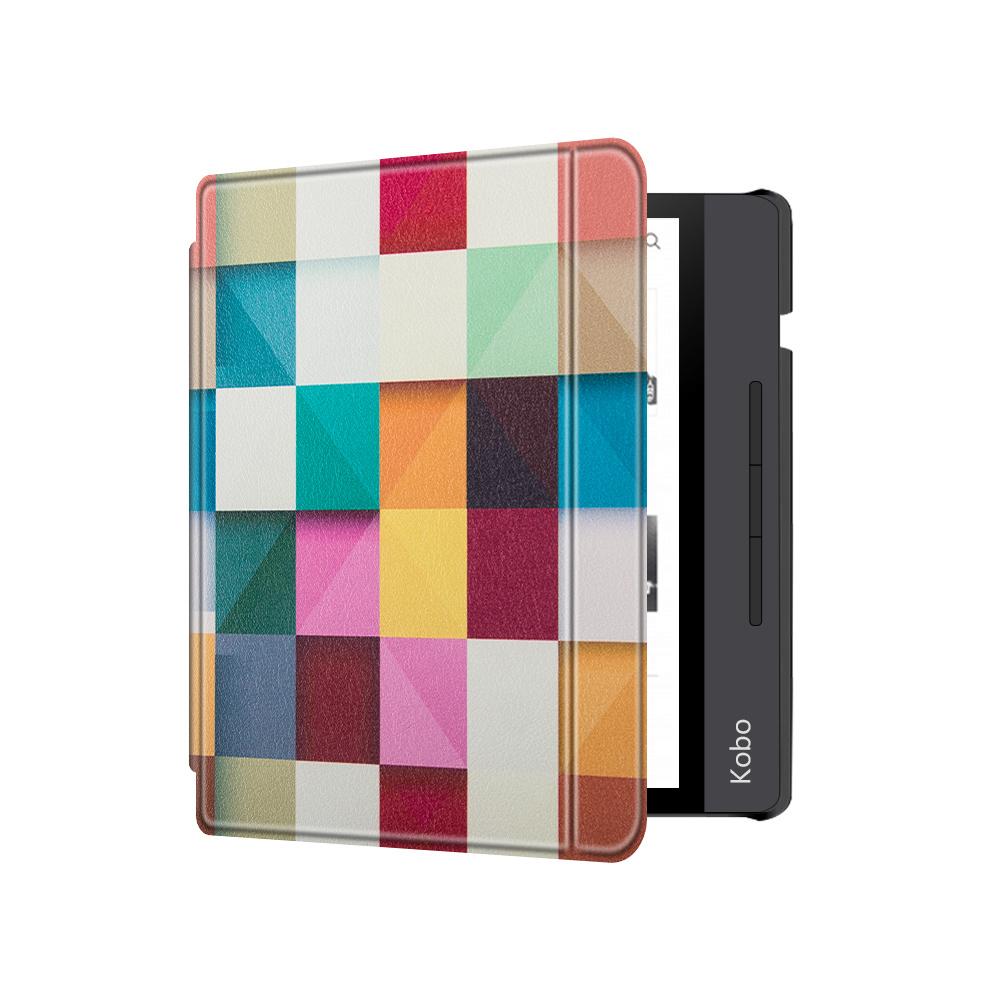 Lunso Sleepcover flip hoes Blokken voor de Kobo Libra H20 (7 inch)