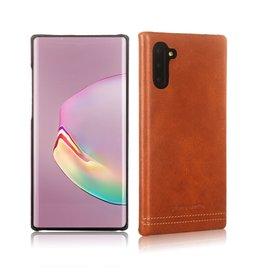 Pierre Cardin Pierre Cardin - echt lederen backcover hoes - Samsung Galaxy Note 10 - Cognac