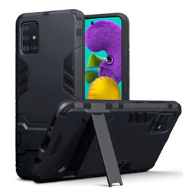 Qubits Qubits - Double Armor Layer hoes met stand - Samsung Galaxy A51 - Zwart
