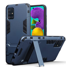 Qubits Qubits - Double Armor Layer hoes met stand - Samsung Galaxy A51 - Blauw