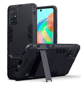 Qubits Qubits - Double Armor Layer hoes met stand - Samsung Galaxy A71 - Zwart