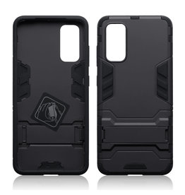 Qubits Qubits - Double Armor Layer hoes met stand - Samsung Galaxy S20 - Zwart
