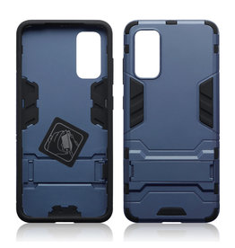 Qubits Qubits - Double Armor Layer hoes met stand - Samsung Galaxy S20 - Blauw