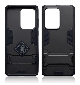 Qubits Qubits - Double Armor Layer hoes met stand - Samsung Galaxy S20 Ultra - Zwart