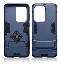 Qubits Qubits - Double Armor Layer hoes met stand - Samsung Galaxy S20 Ultra - Blauw