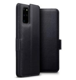 Qubits Qubits - lederen slim folio wallet hoes - Samsung Galaxy S20 Plus - Zwart