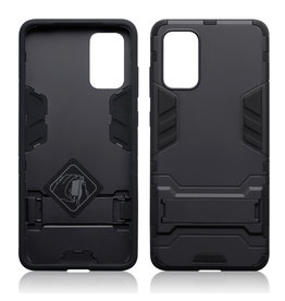 Qubits Qubits - Double Armor Layer hoes met stand - Samsung Galaxy S20 Plus - Zwart