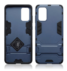 Qubits Qubits - Double Armor Layer hoes met stand - Samsung Galaxy S20 Plus - Blauw