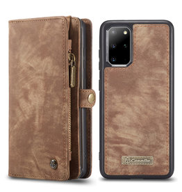 Caseme Caseme - vintage 2 in 1 portemonnee hoes - Samsung Galaxy S20 Plus - Bruin