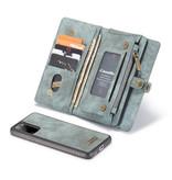 Caseme Vintage 2 in 1 portemonnee hoes Blauw voor de Samsung Galaxy S20 Plus