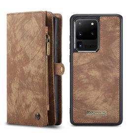 Caseme Caseme - vintage 2 in 1 portemonnee hoes - Samsung Galaxy S20 Ultra - Bruin