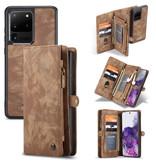 Caseme Vintage 2 in 1 portemonnee hoes Bruin voor de Samsung Galaxy S20 Ultra