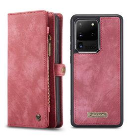 Caseme Caseme - vintage 2 in 1 portemonnee hoes - Samsung Galaxy S20 Ultra - Rood
