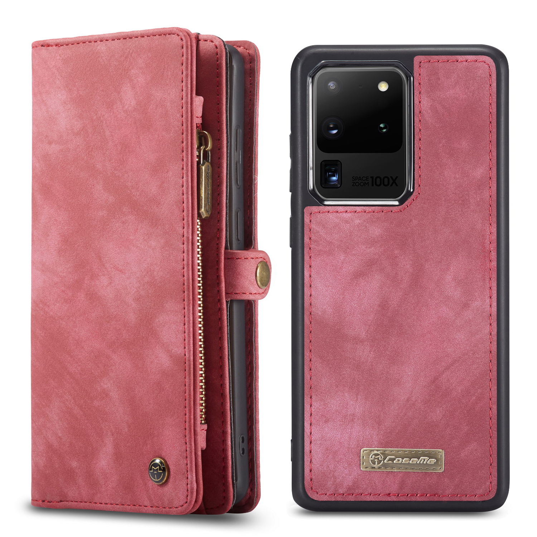 Caseme Vintage 2 in 1 portemonnee hoes Rood voor de Samsung Galaxy S20 Ultra