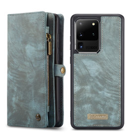 Caseme Caseme - vintage 2 in 1 portemonnee hoes - Samsung Galaxy S20 Ultra - Blauw