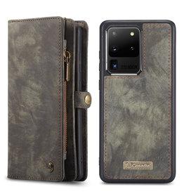 Caseme Caseme - vintage 2 in 1 portemonnee hoes - Samsung Galaxy S20 Ultra - Grijs