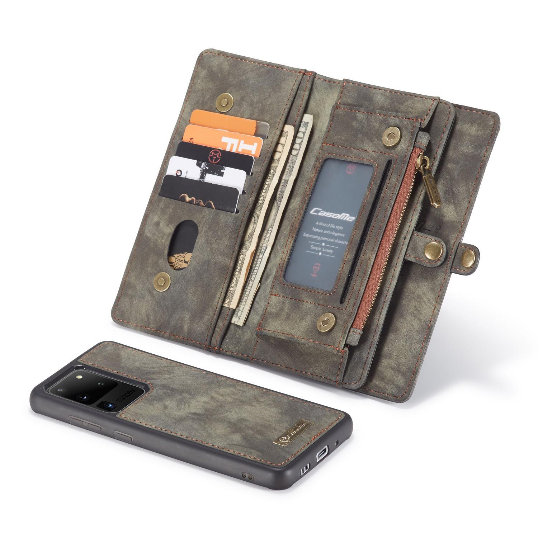 Caseme Vintage 2 in 1 portemonnee hoes Grijs voor de Samsung Galaxy S20 Ultra