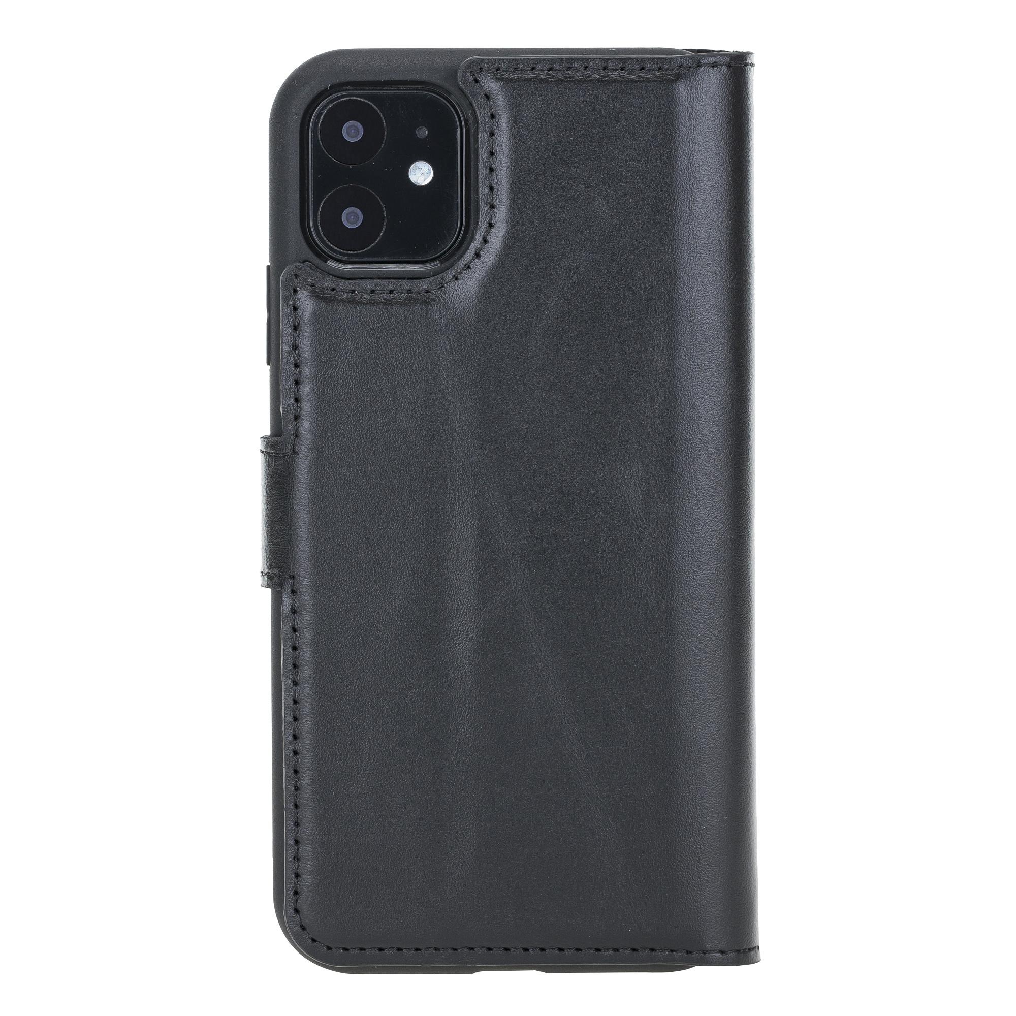 NorthLife Echt lederen uitneembare 2-in-1 (RFID) bookcase hoes Burcht Trecht Zwart voor de iPhone 11