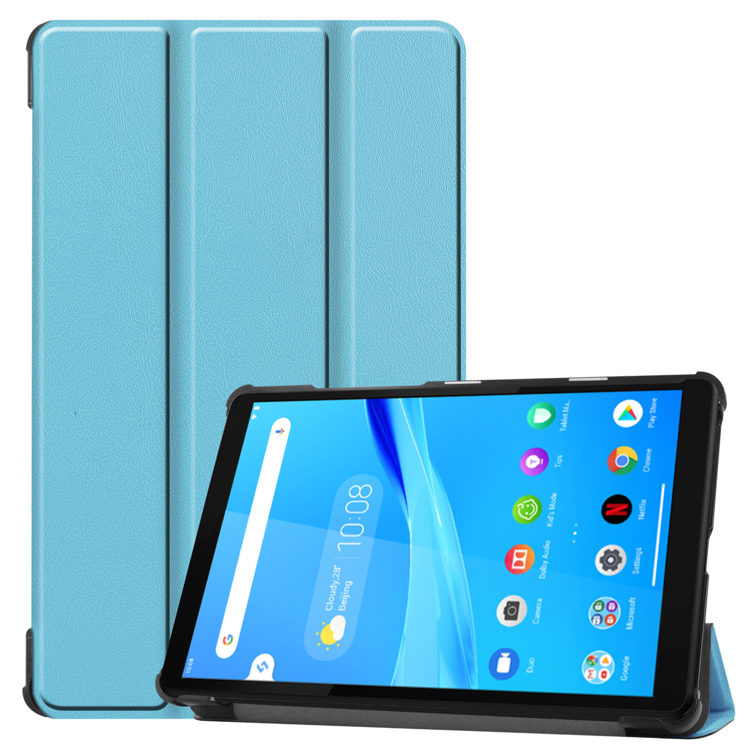 Lunso 3-Vouw sleepcover hoes Lichtblauw voor de Lenovo Tab M8
