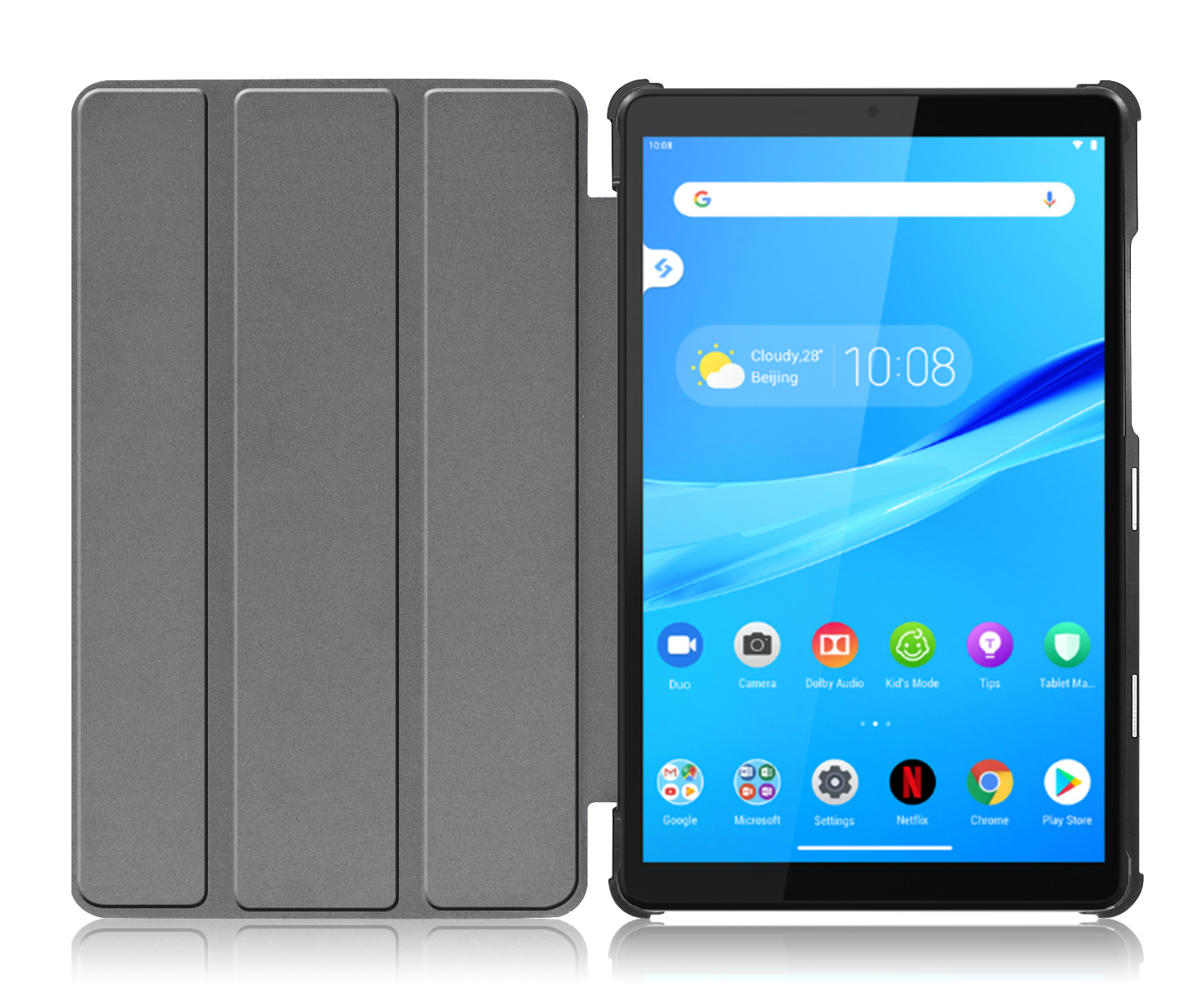 Lunso 3-Vouw sleepcover hoes Paars voor de Lenovo Tab M8