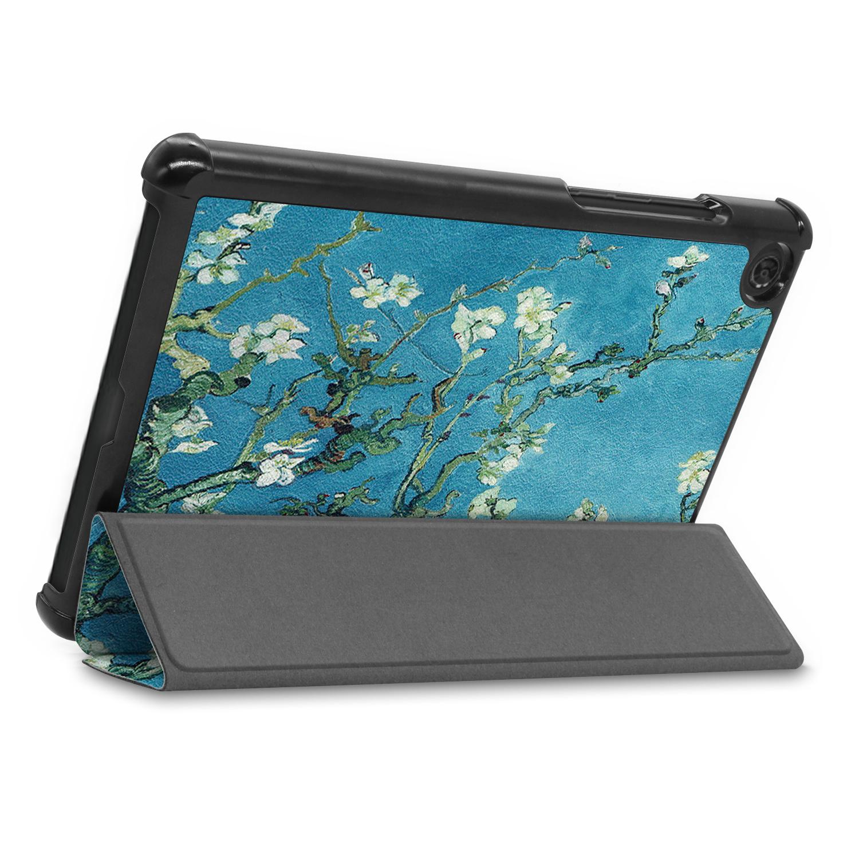 Lunso 3-Vouw sleepcover hoes Van Gogh Amandelboom voor de Lenovo Tab M8