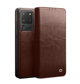 Qialino - echt lederen luxe wallet hoes - Samsung Galaxy S20 Ultra - Bruin