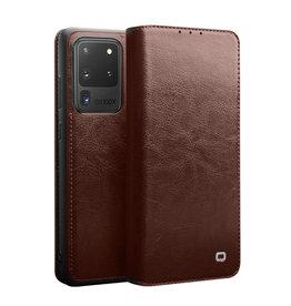 Qialino Qialino - echt lederen luxe wallet hoes - Samsung Galaxy S20 Ultra - Bruin