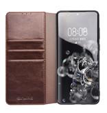 Echt lederen luxe wallet hoes Bruin voor de Samsung Galaxy S20 Ultra