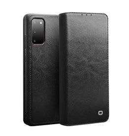 Qialino - echt lederen luxe wallet hoes - Samsung Galaxy S20 - Zwart