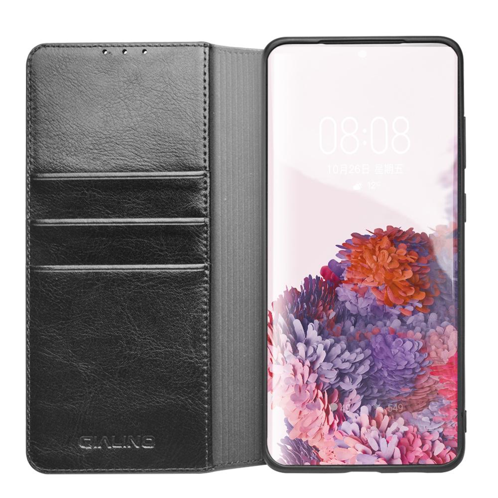 Echt lederen luxe wallet hoes Zwart voor de Samsung Galaxy S20