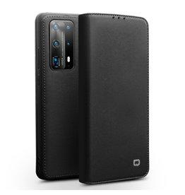 Qialino - echt lederen luxe wallet hoes - Huawei P40 - Zwart